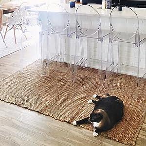 cat on jute rug natural fiber