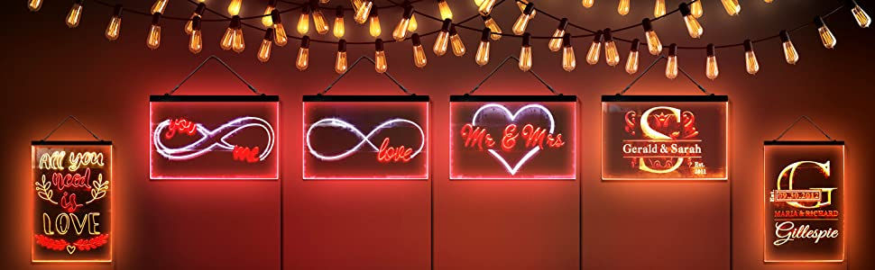 ADVPRO LED Neon sign light-ing Dual-color Love Eternal Mr amp; Mrs Family Name Lovers Love All You Need