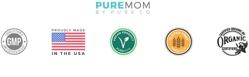 Pure Mom ultra pure organic supplements by Pure Co - Non GMO capsules - gluten free - vegan - USA