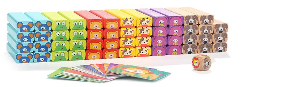 Nene Toys - Torre de Bloques Infantil de Madera 4 en 1 con Colores y Animales – Juego de Mesa Familiar Educativo para Niños Niñas de 3 a 9 años Compartir Entre