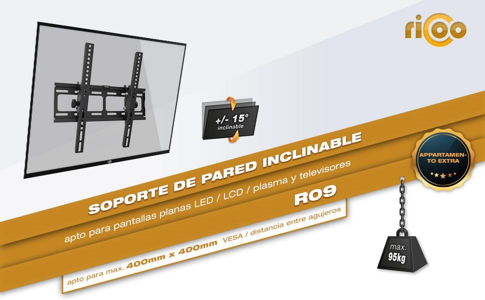 RICOO R09, Soporte TV Pared, Fijo, Plano, Delgado, Televisión 32-65
