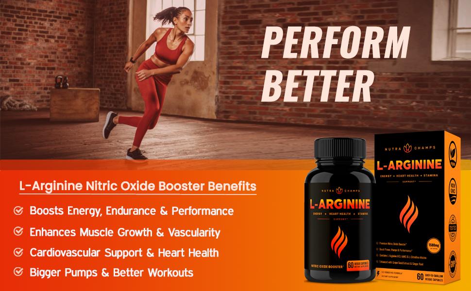 NutraChamps L-Arginine, Heart health, Vitality, Energy, Endurance, Muscle Growth, Vascularity, N.O