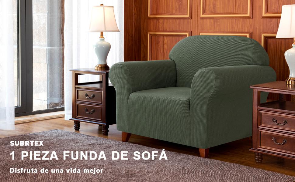 subrtex 1 Pieza Funda de Sofá Poliéster Elástica Cubierta de Asiento Forro de Sofá Doméstica (1 Plaza, Verde Oliva)