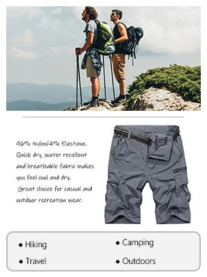 Men's Stretch Cargo Shorts Lightweight Quick-Dry Hiking Shorts