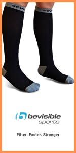 calf compression socks for men women travel maternity work black bevisible sports