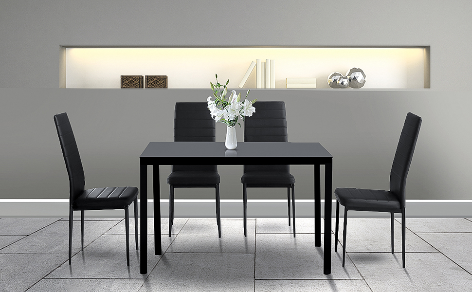 5 Pieces Dining Table Set for Dining Room, Living Room, Kitchen