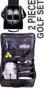 2 Piece set Athletico Golf Trunk Organizer Storage + Golf Shoe Bag