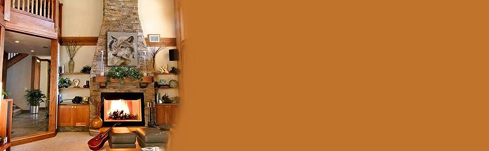 صورة، بسبب، أداة تعريف إنجليزية غير معروفة، الذئب اناثى غرفة المعيشة ريفي ديكور الغربية أمازون راية