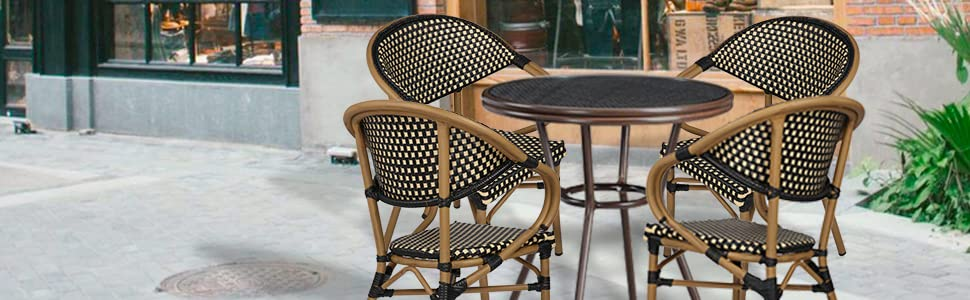 Stackable Outdoor Patio Dining Chairs Set of 4 Aluminum Frame Balcony