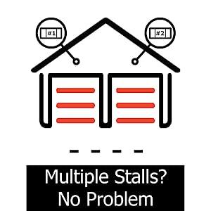 multiple garage doors 1 one 2 two 3 three garage stalls multidoor multi-door 2 garage door opener