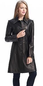 BGSD Women's Amber Lambskin Leather Walking Coat