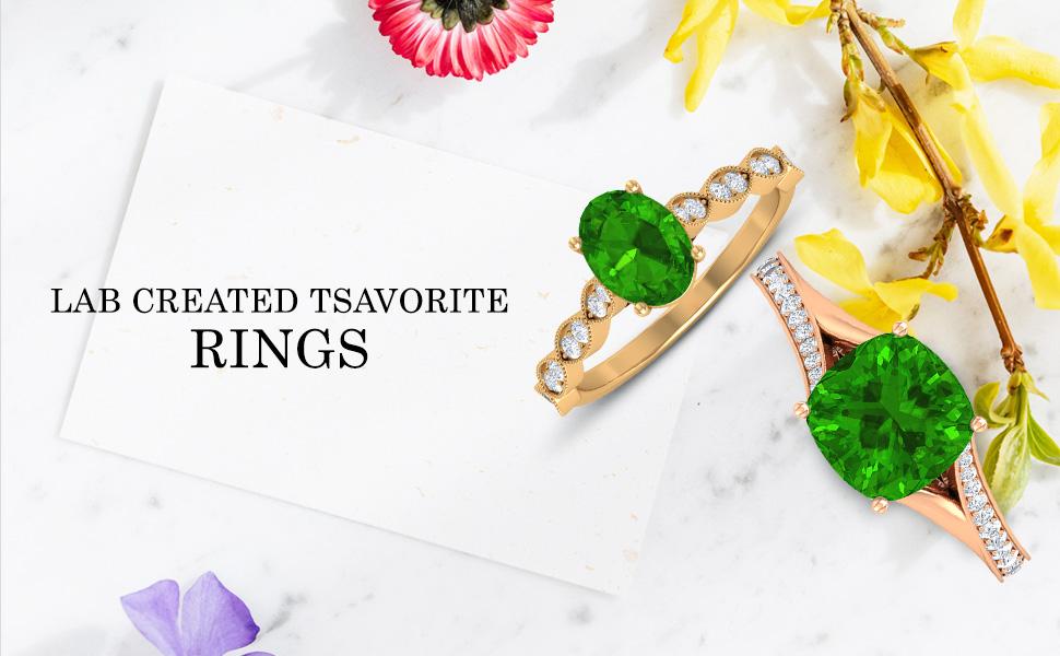 banner Lab Created Tsavorite Rings