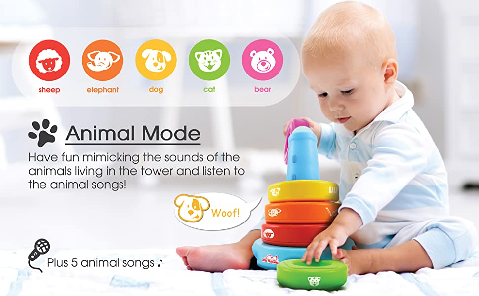 educational learning activity stack toy tower colors animals music song sound babies toddlers