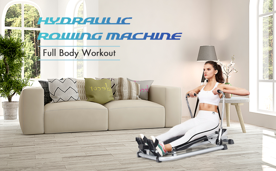 Hydraulic rowing machine for full body workout