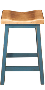 Island Bar Stool Dining Seat Chair BarStool Pub Backless scooped seat rustic seating real wood