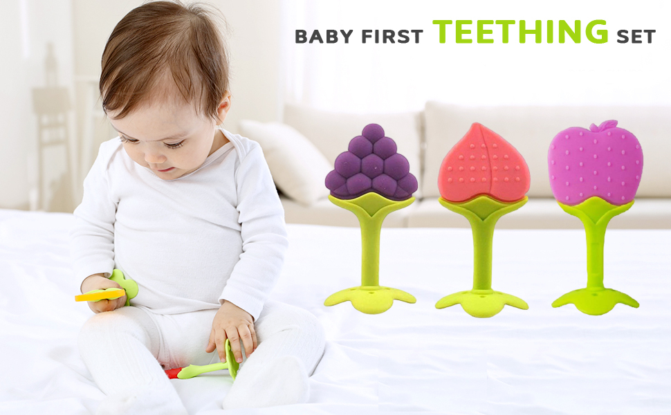 BabyGo Silicone BPA Free Natural Organic Freezer Safe Teethers for Newborn