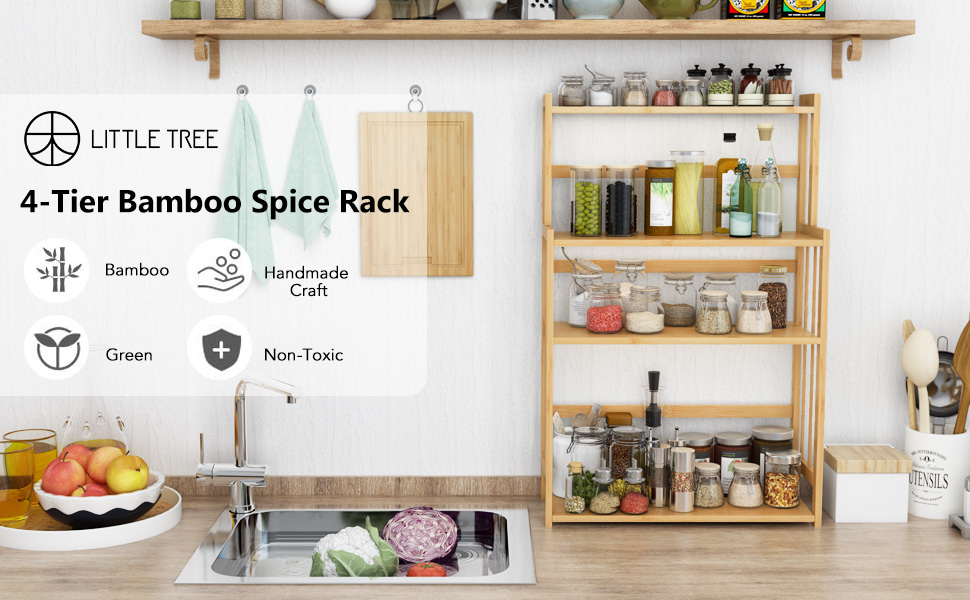LITTLE TREE 4 Tier Bamboo Spice Rack