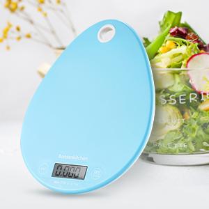 Bonsenkitchen bilancia da cucina/scala alimentare Bilancia alimentare per cottura e cottura con pulsanti sensibili al tatto, multifunzione, sistema di sensori ad alta precisione, blu (KS8801)