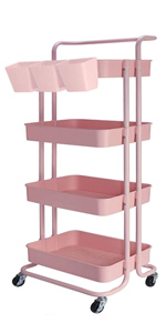 4 Tier Storage Cart with Hanging Cups
