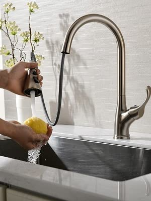 APPASO Single Handle Pull Down Kitchen Sink Faucet with Sprayer, Stainless Steel Brushed Nickel