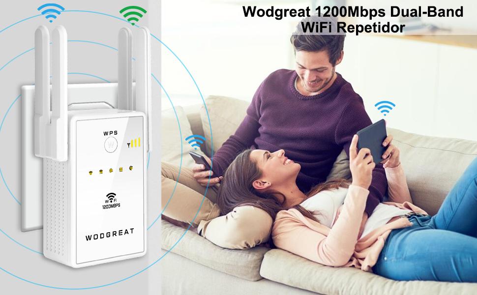 Wodgreat Repetidor WiFi AC1200 Amplificador Señal WiFi 5G y 2,4G WiFi Repeater Extender con 2 Puertos Ethernet, Cubra la señal hasta 160㎡, 2 ...