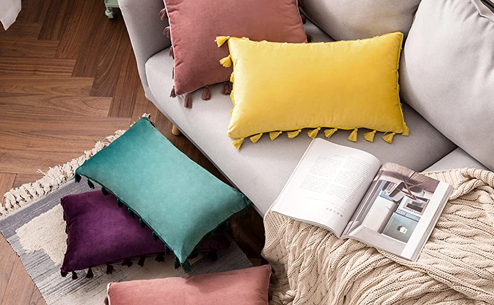 velvet pillow tassels fringe accent pillows cushion boho throw