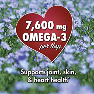 Bottle's label showing a heart and  message 7,600 mg OMEGA-3 supports joints, skin, amp; heart health