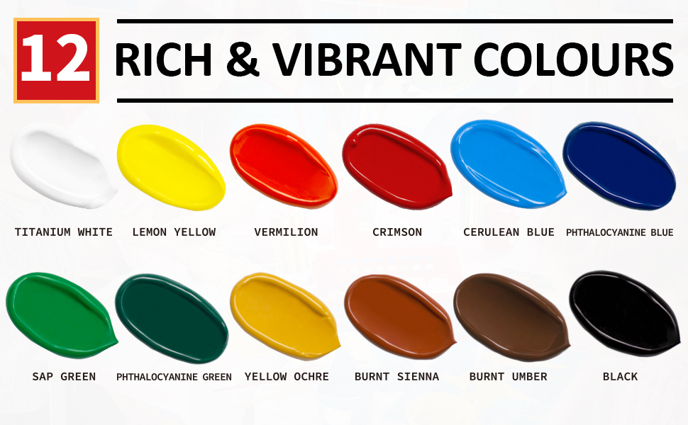 12 RICH amp; VIVID colors for a wide selection of acrylic paints