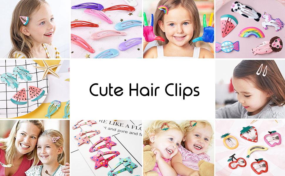 Kids Hair Clips BB Snap Hair Clip Cartoon Cute Pattern Hair Pins Animal Fruit Water Drop
