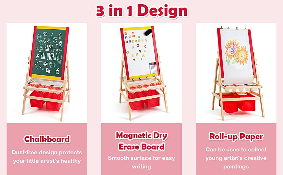 kids easel with paper roll - Costzon 3 In 1 Kids Art Easel With Paper Roll, Double Sided Adjustable Chalkboard & White Dry Erase With 4 Drawing Board Clips, Storage Bins, 26 English Alphabet Tiles For Toddlers (Red)