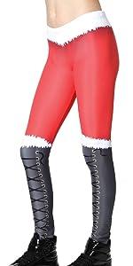 santa legging, santa holiday legging, santa theme legging, red white black legging, jfk legging