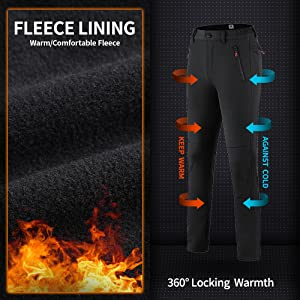 Women's Snow Fleece-Lined Soft Shell Insulated Waterproof Pants Winter Hiking,Camping,Travel