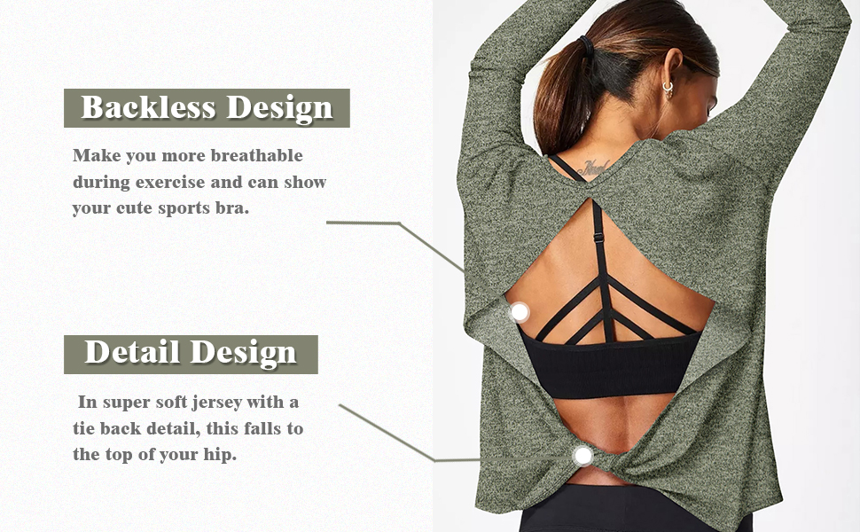 Open back workout tops