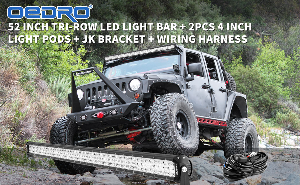 Oedro Led Light Bar 52 Inch 758w 66430lm Tri Row Combo Beam 2pc 4 27w Tri Row Combo Beam Off Road Driving Light Pod Wiring Harness Upper Roof