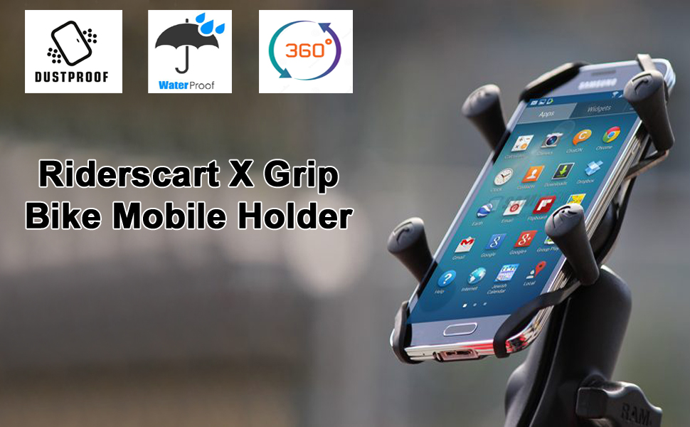 riderscart scooter and bike waterproof dust proof x grip charging mobile holder