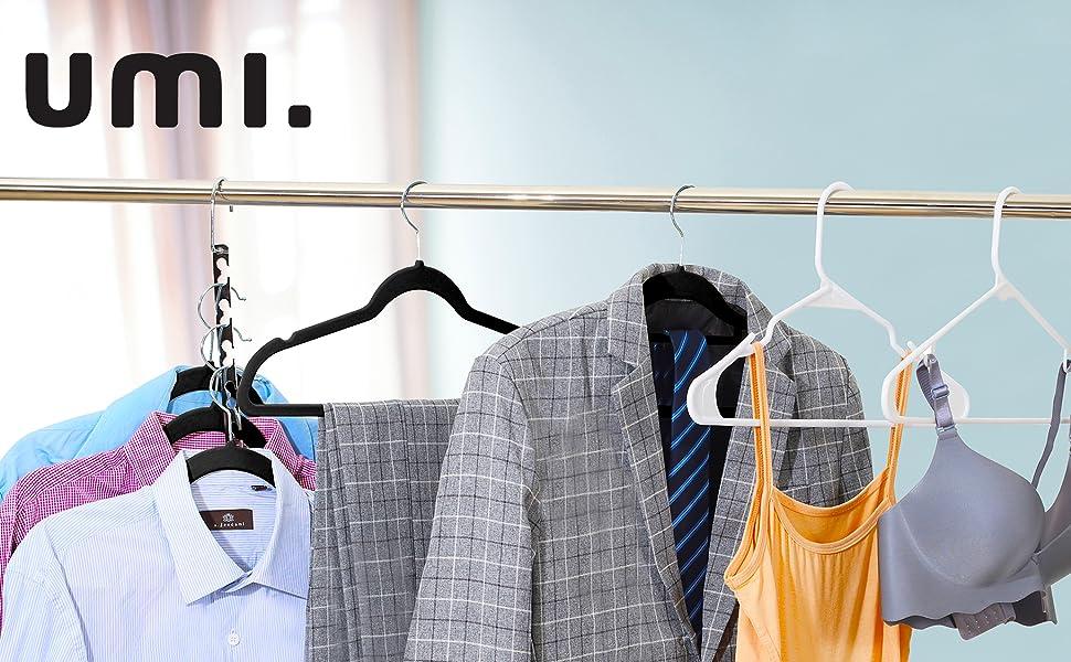 by Pantalones Abrigos 60 Pcs Perchas Est/ándar para Trajes Perchas de Pl/ástico Negro Antideslizantes y Resistentes UMI con Peque/ños Ganchos para Camisolas y Vestidos De Tirantes