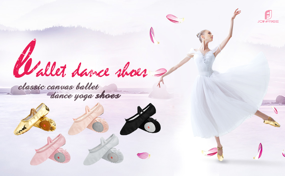 4e034f91ba JOINFREE Girl's Women's Ballet Shoes Flat Dancing Slipper Canvas ...
