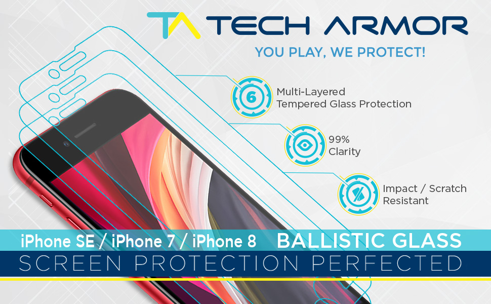 ballistic glass tempered iphone 6 7 8 apple screen protector tech armor 9H iphone se 2020