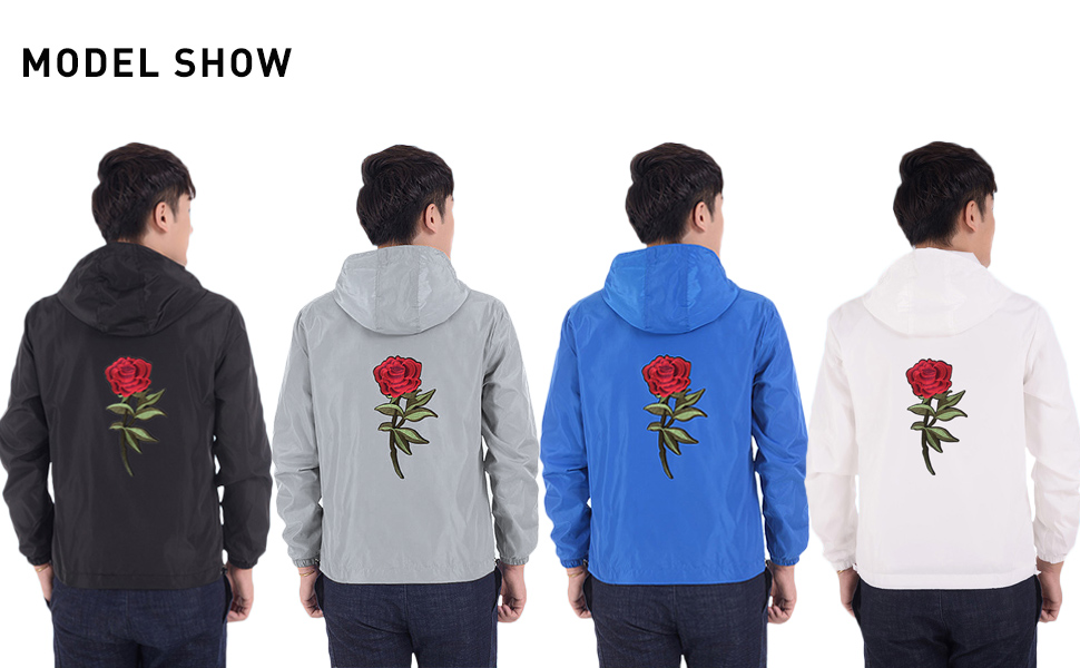 Black, Grey, Blue, White, 4 Colors For You To Choose, Trendy Rose Windbreaker