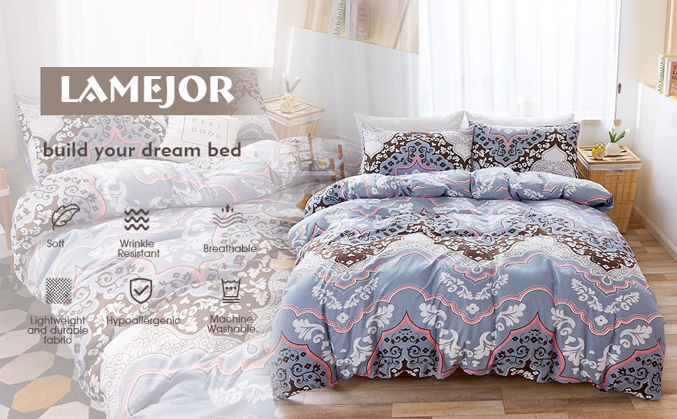1 Duvet Cover+2 Pillowcases LAMEJOR Duvet Cover Set Queen Size Bohemian Dreamcatcher Pattern Luxury Soft Bedding Set Comforter Cover White
