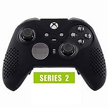 eXtremeRate Funda de Silicona para Mando Xbox One Elite Protector Antideslizante Tacto Suave Piel de Controlador Cubierta Skin Case para Controlador Xbox One Elite Serie 2 con Tapas de Joytick(Negro): Amazon.es: Electrónica