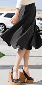 Ponte Mid Length Flared Skirt