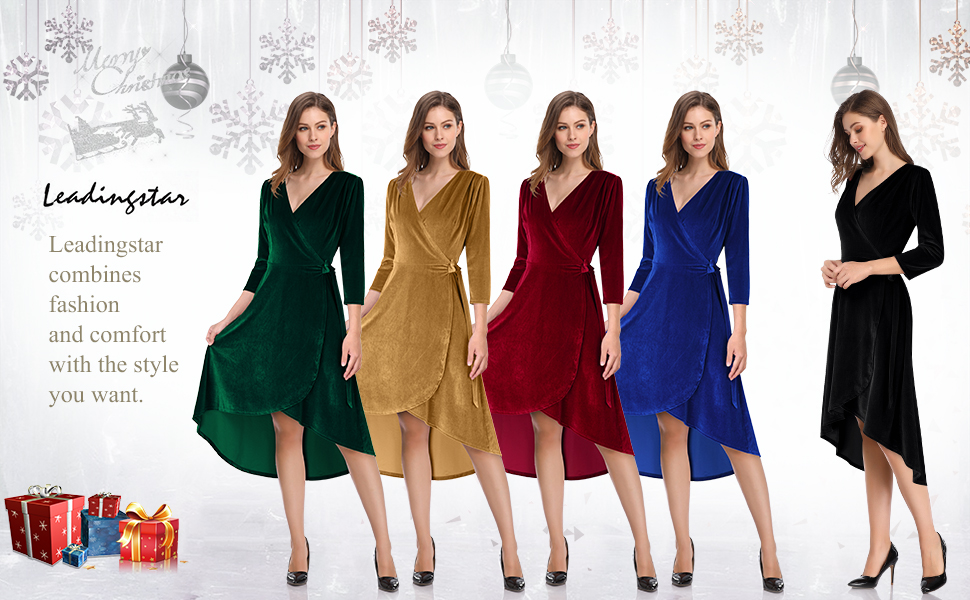 Leadingstar Women's Velvet A-Line Swing Party Dress