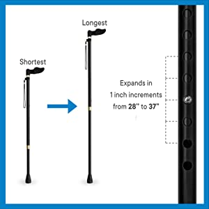 Adjustable, expandable Orthopedic Handle cane with contours for hand