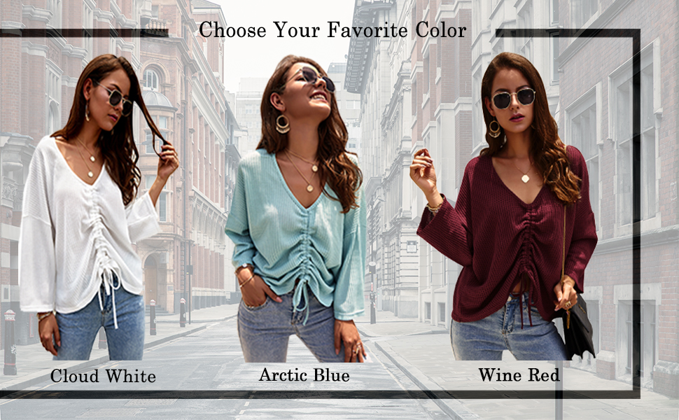 waffle knit top WOMEN knit blouse tie shirt for women waffle women fitting shirts loose knit sweater