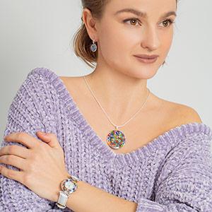 Murano Glass millefiori pendant, murano glass millefiori earrings, murano glass watch, millefiori