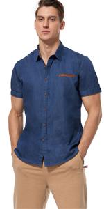 slim fit dress shirts for men (Dark Blue)