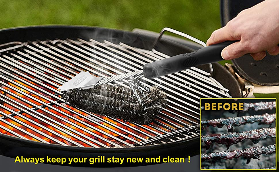 grillart grill brush and scraper cleaning hot grates before and after just like new