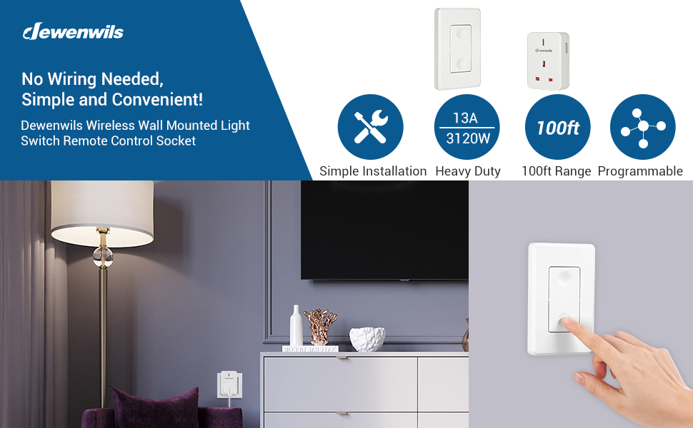 Remote Wall Switch and Plug-In Power Socket, Indoor Wireless Remote Controlled Light Switch Set