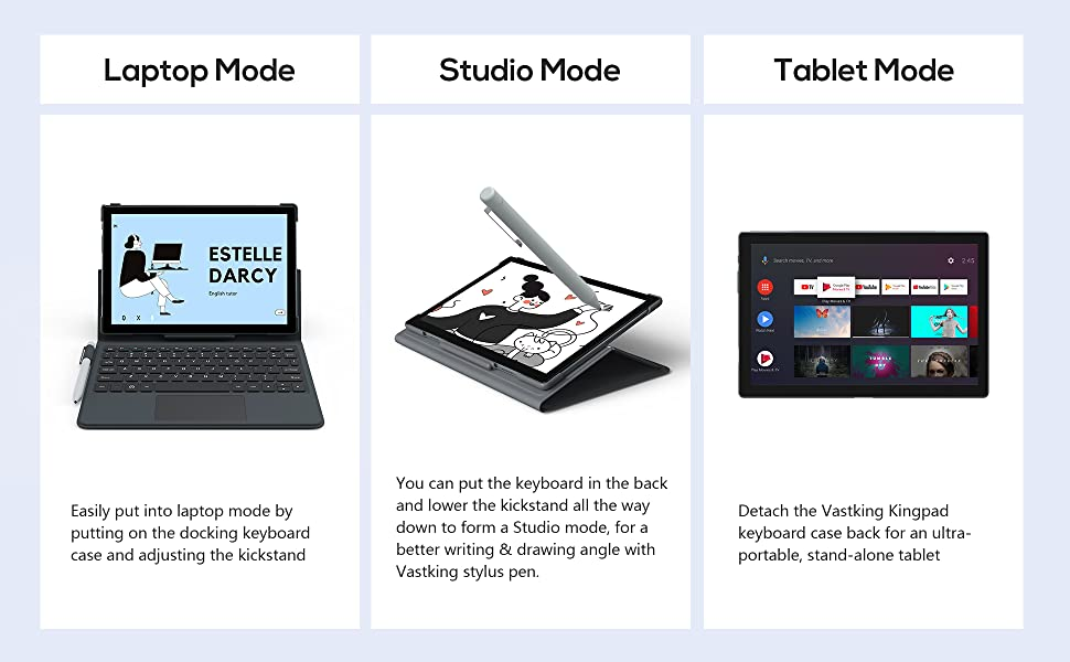 android tablet with keyboard and pen